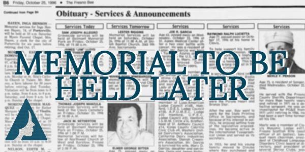 Memorial Services Postponed